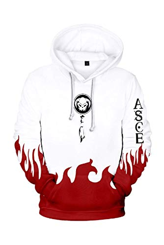 Adults Portgas·D· Ace One Piece Anime Hoodie Pullover Sweatshirt Cosplay Jacket Deluxe Outfit For Men (Medium, White)