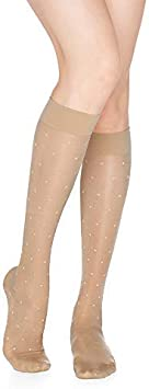 Knee High Sheer Dot Pattern Rejuva 15-20 mmHg Graduated Compression Stockings