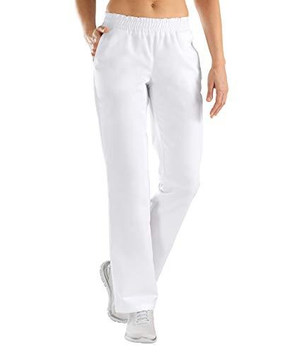 CLINIC DRESS Hose Schlupfhose Damen mit elastischem Bund gerader Schnitt 95 Grad Wäsche weiß L