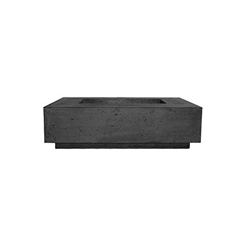 Prism Hardscapes Tavola 1 Concrete Gas Fire Pit (PH-405-2NG), Natural Gas, Ebony, 56x38-Inch