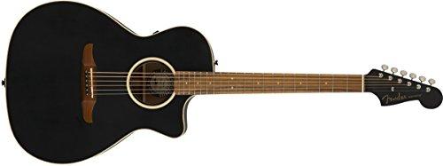 Fender Newporter Special - Guitarra acústica de la serie California – acabado negro mate con bolsa de concierto