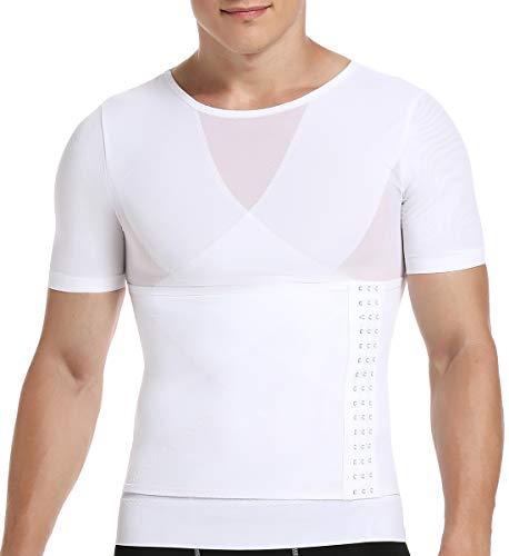 SLIMBELLE® Hombre Camiseta Reductora Ropa Adelgazante Moldeadora con Faja Ajustablepara Deportes Fitness Negro Blanco