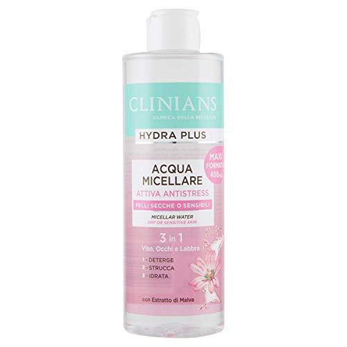 CLINIANS HYDRA PLUS agua micelar activa antiestrés para pieles secas o sensibles, con Extracto de Malva, 400 mL