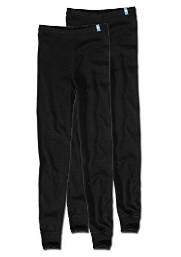 Sanetta Unisex Unterhose Lange Unterhose mit Beinbündchen im Doppelpack, schwarz, 140