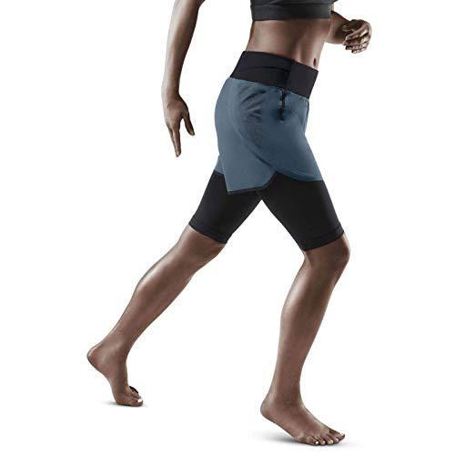 CEP – Run 2IN1 Shorts 3.0 für Damen   Kurze Sporthose mit Kompression in grau/schwarz   Größe V