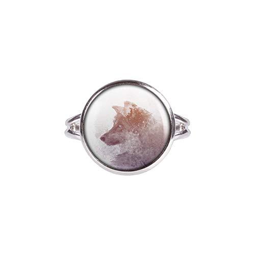 Mylery Ring mit Motiv Wolf Winter Wald Farben Doppel-Belichtung Silber 14mm