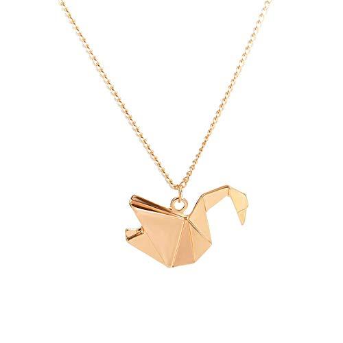 N/A Collar Colgante Mil grullas de Papel Hollow Origami Dove Collar Largo de Animales Collar con Colgante de Paloma de la Paz Regalos de Fiesta de cumpleaños de Navidad