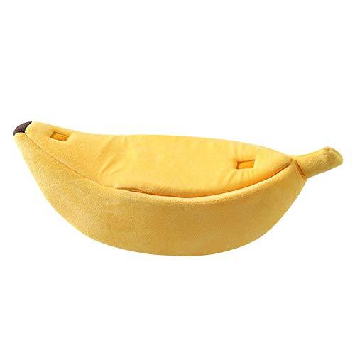 Yowablo Kleines Haustierbett Bananenform Flauschig Warm Weiches Plüsch Atmungsaktives Bett Bananen Katzenbett (65 * 25 * 21cm,3- Gelb)