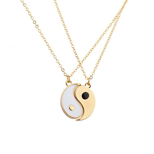 Lux Accessories Ying Yang Twins Emoji symbol BFF Pendent Friendship Necklaces Gift for Friends (Gold)