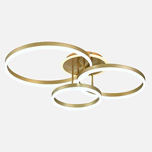 Sofar LED-Deckenleuchte kreative runde energiesparende Lampe moderne Persönlichkeit Atmosphäre Atmosphäre Beleuchtung goldenes Schlafzimmer Wohnzimmer Lampen (Golden, 3 Kreise)