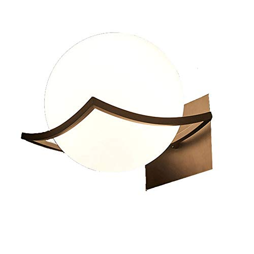 Rindasr ronde wereldlamp, mini-wandlamp, 6,2 inch, melkscherm van glas, wit, drie standen schakelaar kleur ChangeWiring