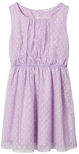 NAME IT Mädchen Kleid festliches Tüllkleid Pünktchen nkfVABOSS (134/140, Lavendula)