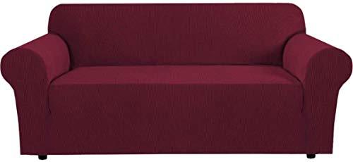 Mazu Home - Juego de 3 fundas elásticas para sofá de salón, funda protectora de sofá de Gangta Jacquard suave y grueso, extraíble (sofá de 72 a 96 pulgadas): gris)