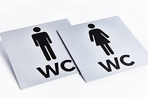 Bamodi XXL Cartel Aseos Adhesivo - Carteles WC Hombre y Mujer - Placa WC de Aluminio Cuadrada – PE-gatinas de Pared o Puerta – Acabado Acero Inoxidable – Fácil de Instalar – 2 Uds. – 12,5 x 12,5 cm