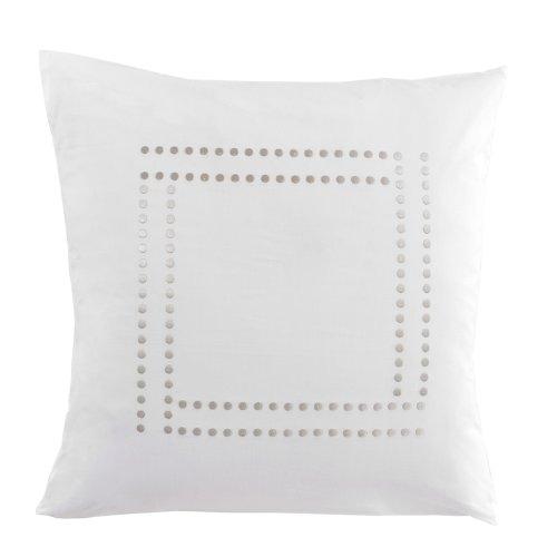Essix - Taie d'oreiller Venezia Percale de Coton Blanc 65 x 65 cm