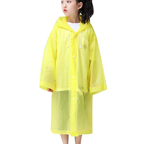 Adult Children's Transparent Raincoat Lightweight Hooded Rain Poncho Lonshell Kids Rain Jacket Outerwear Womens Mens Rainwear Non-disposable Waterproof Rain Coat (2 Kids Yellow)