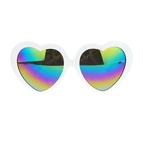 LHSDMOAT Womens Mirrored Rusta Mirror Lens Plastic Frame Heart Shape Sunglasses