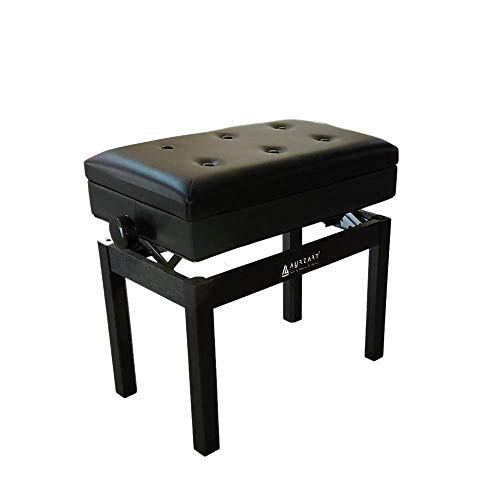 AURZART Adjustable Wooden Piano Bench Stool with Sheet Music Storage Black Solo Seat High-Density Padded PU Leather Cushion Solid Hard Wood - AZ-502