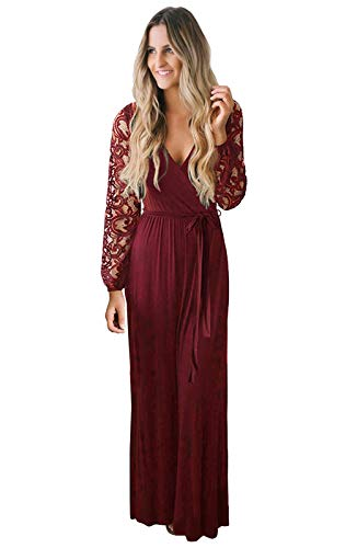 Zattcas Women Fall Casual Faux Wrap V Neck Vintage Floral Lace Long Sleeve Maxi Dress Wine Red Small