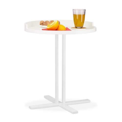 Relaxdays, witte bijzettafel rond, kruisvoet van metaal, plank met rand, decoratieve tafel voor de woonkamer, h x Ø: 53 x 46 cm