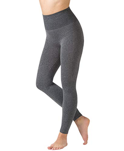 Warner's Women's No Muffin Top Leggings – Seamless, Shaping, High-Waisted Control Leggings, Dark Grey Heather, Size S/M