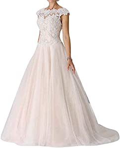 Wedding Dress Lace Bridal Gown A line Sleeveless Tulle Bride Dresses