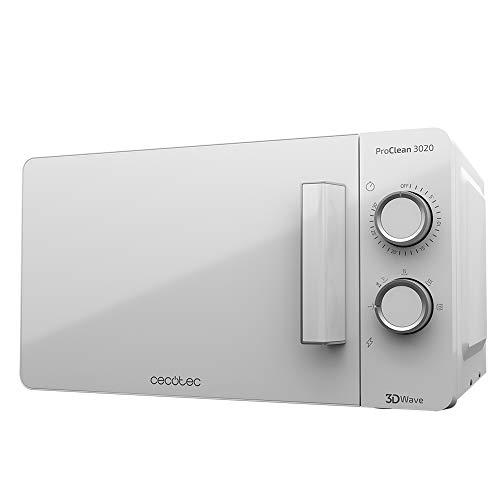 Cecotec Microondas ProClean 3020. Capacidad de 20l, Revestimiento Ready2Clean, 700 W de Potencia, 6 Niveles Funcionamiento, Temporizador 30 min, Modo Descongelar, Acabado Blanco