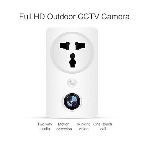 WXJHA WiFi Presa a Muro di Sicurezza, Abbigliamento Elegante Socket Videocamera HD 1080P Visione Notturna di Sicurezza Domestica di Movimento Compatibile con Android USB C,Bianca