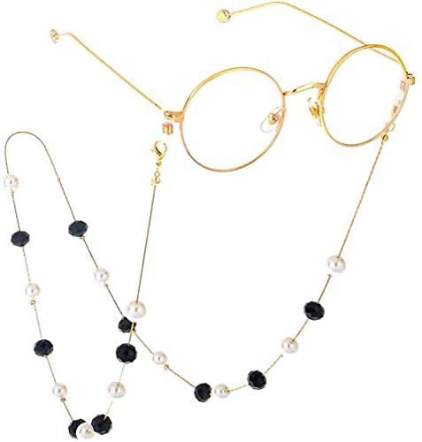 Cadenas para anteojos Moda Perla de cristal negro Cadena para gafas de...