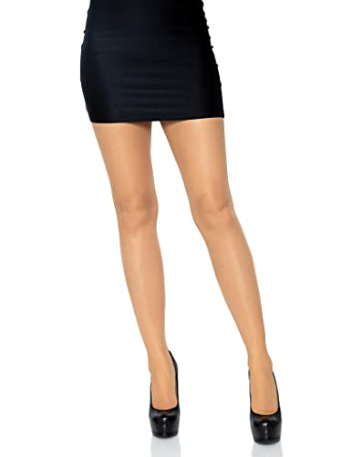 Leg Avenue Women's Plus Size Sheer Cuban Heel Backseam Pantyhose, Nude/Black, 1X-2X