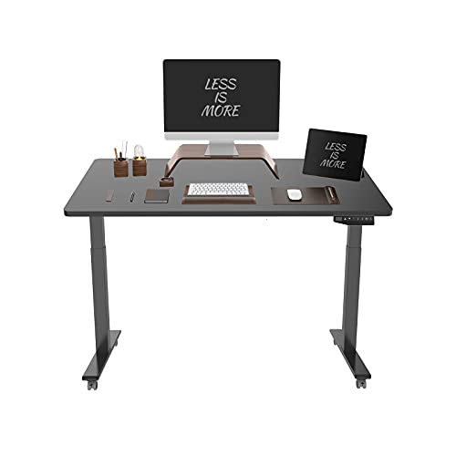 Flexispot ED2 - Scrivania elettrica regolabile in altezza con piano di lavoro, con controllo memoria e sistema di avvio e anti-collisione integrato (nero + nero, 160 x 80 cm)