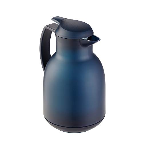 Leifheit Bolero 1, 0 L Isolierkanne, 100% dicht, Thermoskanne mit doppelwandigem Vakuum-Glaskolben, praktisches Öffnen und Schließen mit einer Hand, Kaffekanne, Teekanne, blau, gefrostet