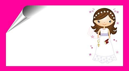 Kit 96 Etiquetas Mi Primera COMUNIÓN - Pegatinas Adhesivas Niña Comunión para Regalo, Invitación, Fiesta, Candy Bar, Obsequios, Botes Chuches, Dulces, Tarros