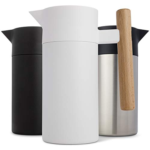Stainless Steel Thermal Coffee Carafe - Double-Walled Vacuum Insulated Thermos and Beverage Pot - Compact, Travel-Size Strainer for Tea, Infused Drinks and Water - 40 Fl oz, White