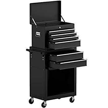 Goplus 6-Drawer Rolling Tool Chest Removable Tool Storage Cabinet with Sliding Drawers Keyed Locking System Toolbox Organizer  Black