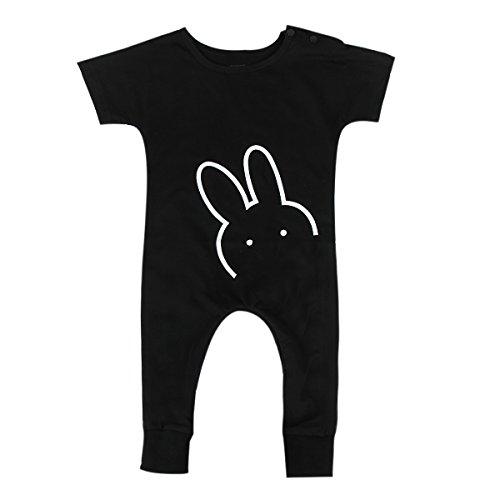 Baby Jongen Meisjes Korte Mouw Leuke Konijn Romper Jumpsuit Overall Eendelig 6-12 Months Zwart