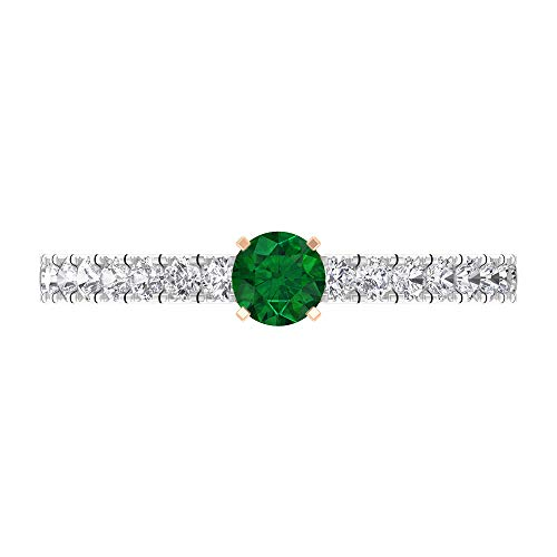 Anillo de esmeralda y diamante, anillo solitario de oro con piedras laterales (esmeralda de 4 mm), 18K Oro rosa, Size:EU 63