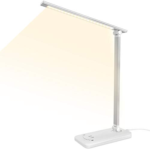 Semlos LED デスクライト 40 LED卓上スタンド 電気スタンド 600ルーメン タッチセンサー5段階調光5段階調色...