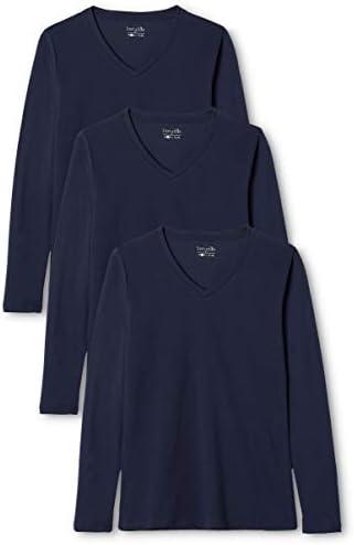 Berydale Camiseta Manga Larga Mujer Cuello Pico, Pack de 3 en varios colores