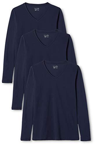 Berydale Camicia donna a maniche lunghe con scollo a V, confezione da 3, Navy, XS