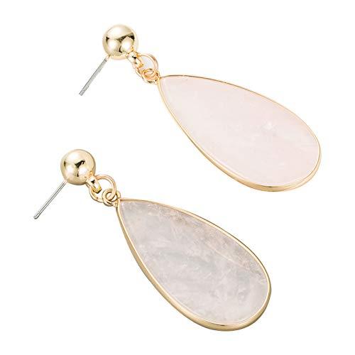 SHINE SHUNA Tropfenförmiger Naturstein Pink Vintage lange Ohrringe Achat baumeln Ohrring für Frauen