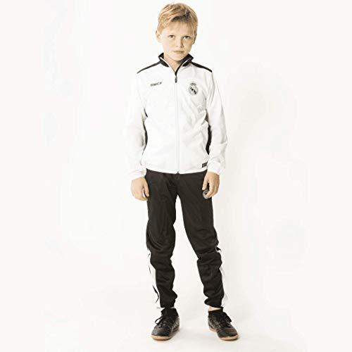 Real Madrid Survêtement pour Enfant – garçon – Fille – Ballon de Football – Home – 18/19 – Bon marché – Replica – Vêtement de Football – Blanc/Noir – Taille 104/116/128/140/152/164 (164)