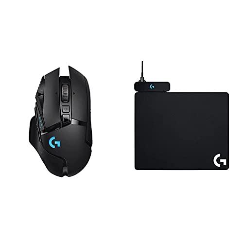 Logitech G502 Lightspeed, Souris Gaming sans Fil - Noir + Powerplay Tapis de Souris Gaming avec Système de Charge sans Fil (pour Souris Logitech G903 et G703)