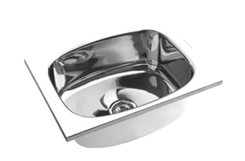 SS Sink HPF Stainless Steel Single Bowl (18x16x8 inches, Silver Chrome)