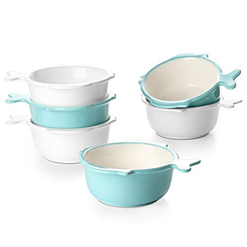 DOWAN 4 oz Ramekin Bowls with Handle, Cute Souffle...