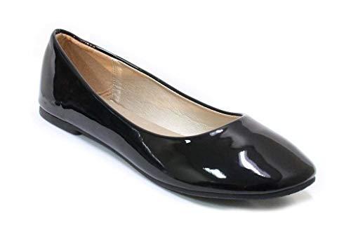 Damen-Ballettkleid, klassisch, runder Zehenbereich, flach, bequem, niedriger Absatz, Muse, Schwarz (Schwarz glänzend), 38.5 EU
