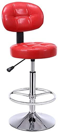 HZYDD Taburete de Barra Moderna Silla de computadora, Taburete Alto, Silla de Bar, Altura Ajustable, Silla de peluquería, Respaldo, Reposapiés con Cómodo, Salón de Belleza, Rojo (Color: Rojo)