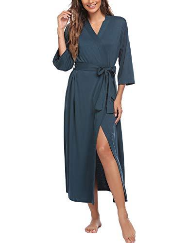 Ekouaer Womens Robes, Lightweight Cotton Robe Soft Sleepwear Ladies Loungewear Dressing Gown Long Bathrobe Green
