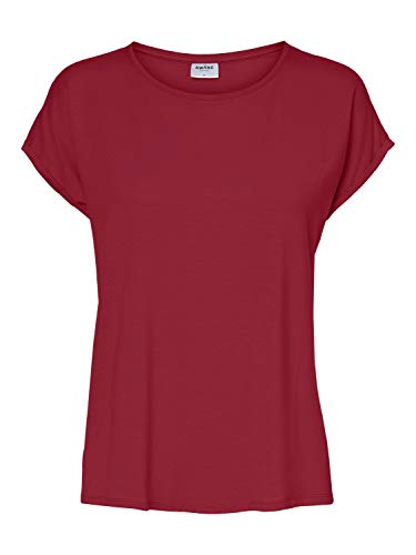 VERO MODA Damen VMAVA Plain SS TOP GA NOOS T-Shirt, Tibetan Red, M