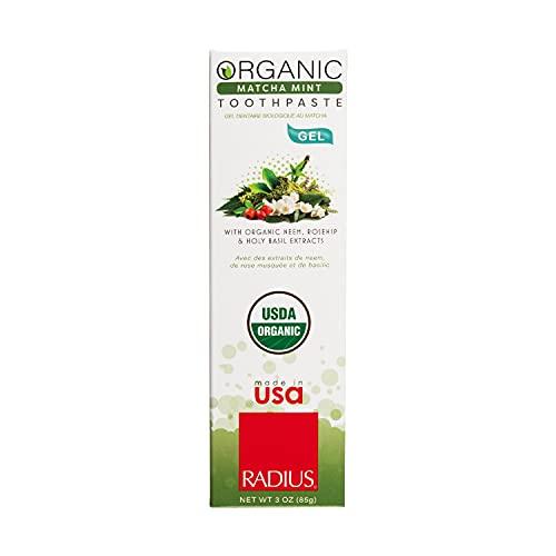 RADIUS USDA Organic Toothpaste, Matcha Mint, Non Toxic, Designed to Improve Gum Health and Reduce the Risk of Gum Disease